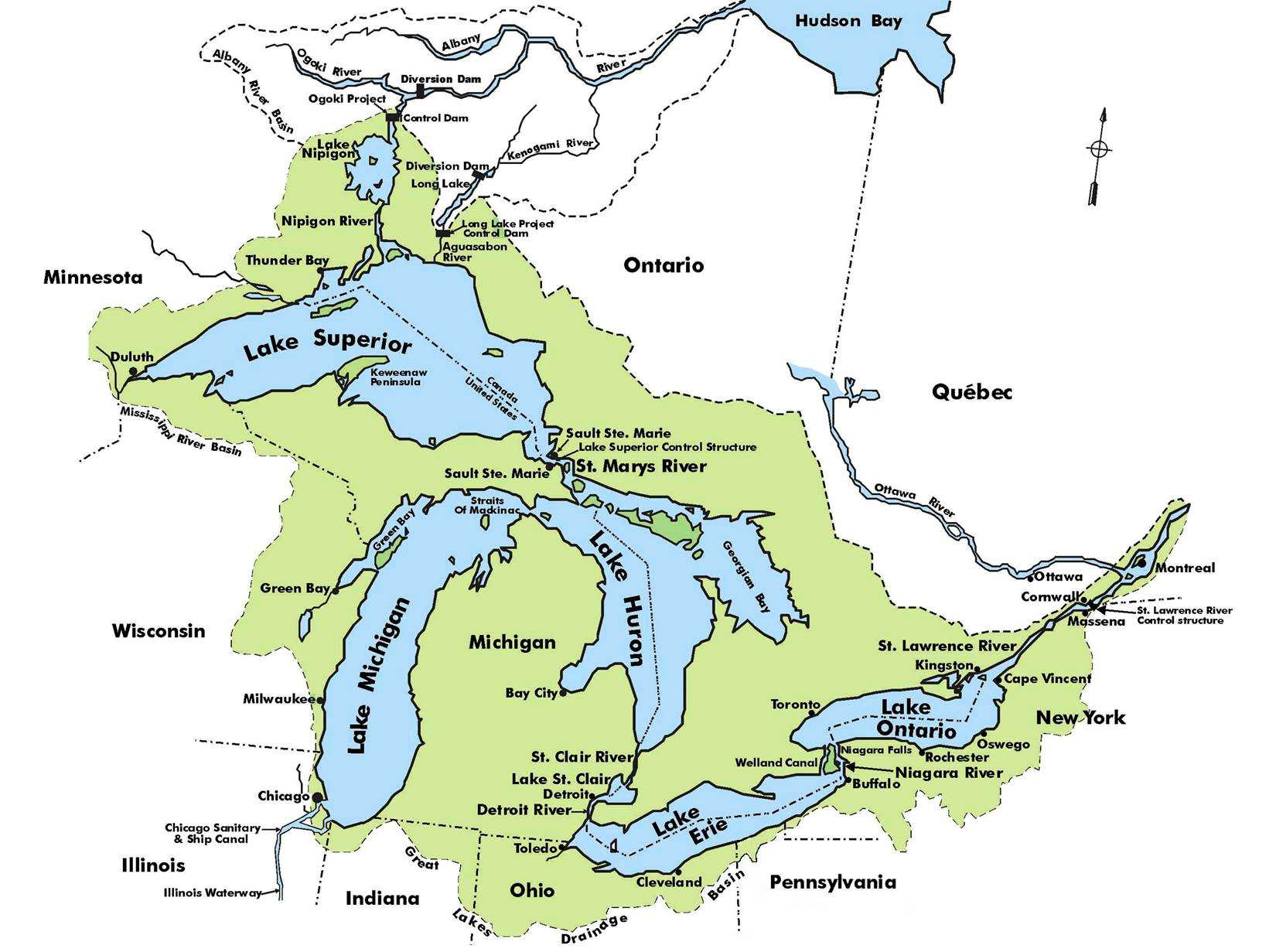 USA Rivers And Lakes Map TEACH Questions Answers Great Lakes Map - Usa map rivers