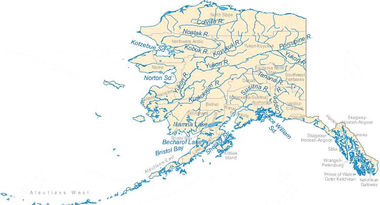 Map of Alaska River, Copper River Alaska, Alaska River