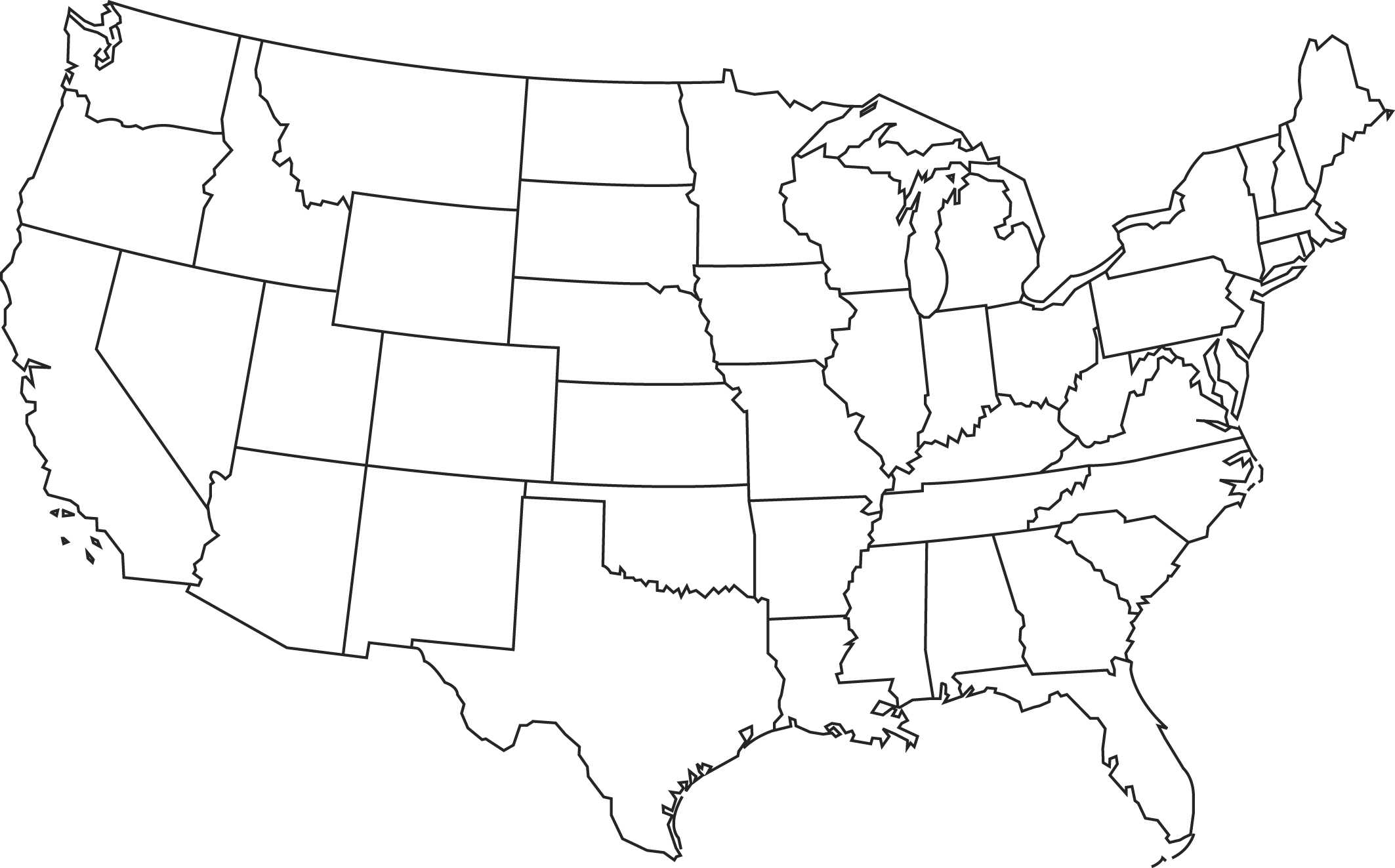 Free United States Of America Map United States Maps - Blank map of the americas printable