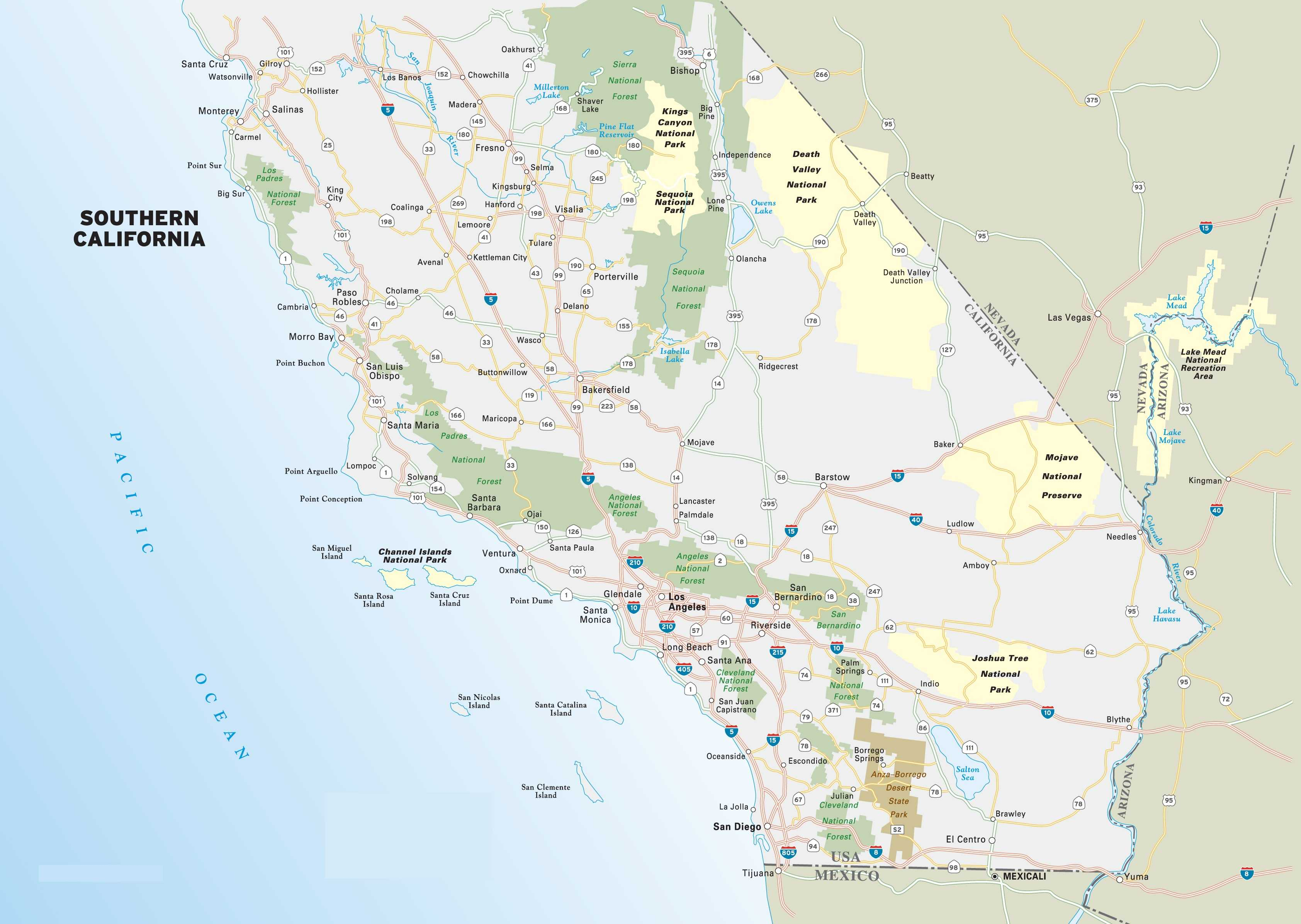 Map of Southern California, Map of California