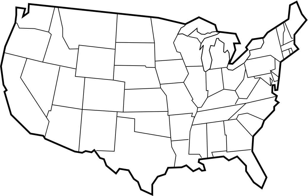 printable blank map of the United States