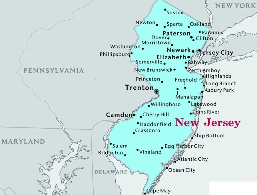 map of new jersey, new jersey map
