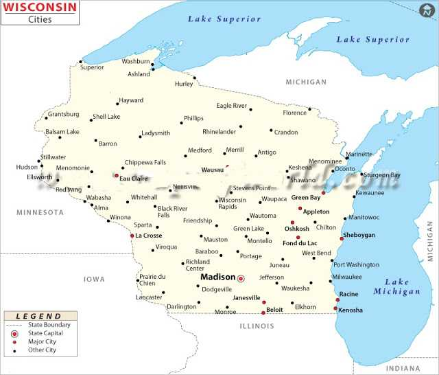 Map of Wisconsin cities, Map of Wisconsin