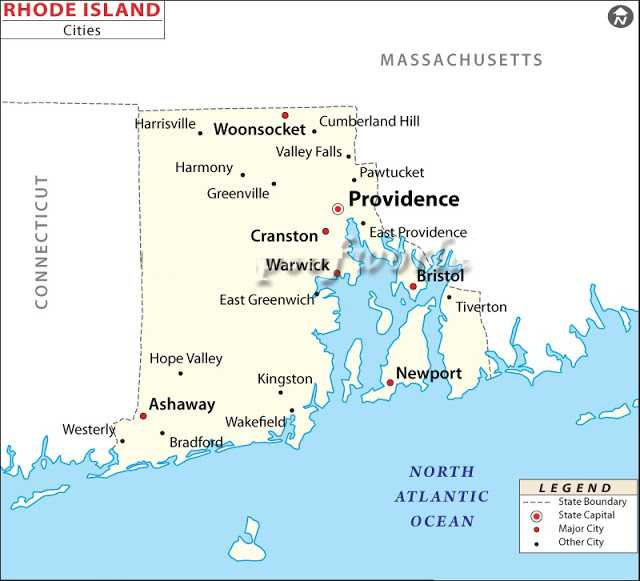 Map of Rhode Island State Map of America United States Maps