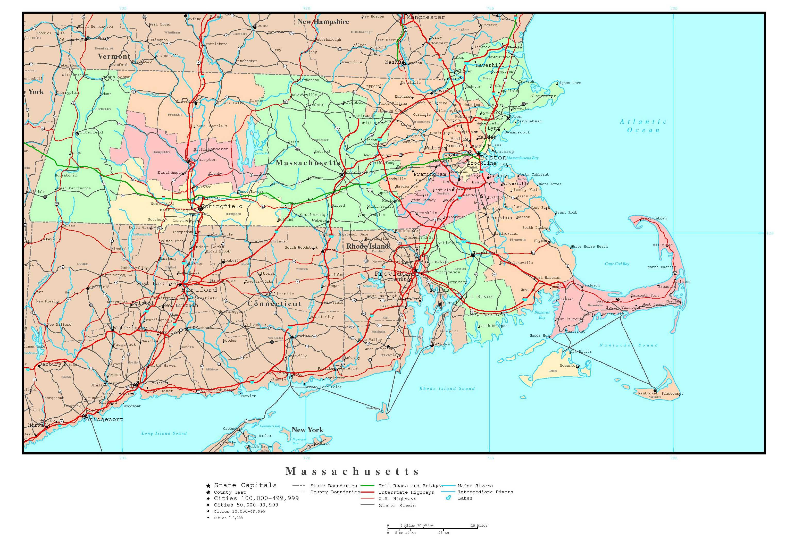 Map of Massachusetts State Map Of USA United States Maps