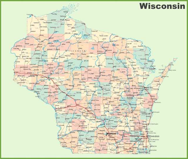 Wisconsin on USA Map, map of Wisconsin