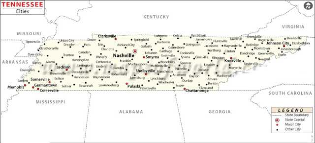Tn State Map With Cities.Map Of Tennessee State Map Of Usa United States Maps