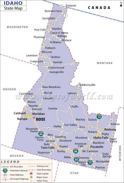 Map of Idaho State Map of USA United States Maps