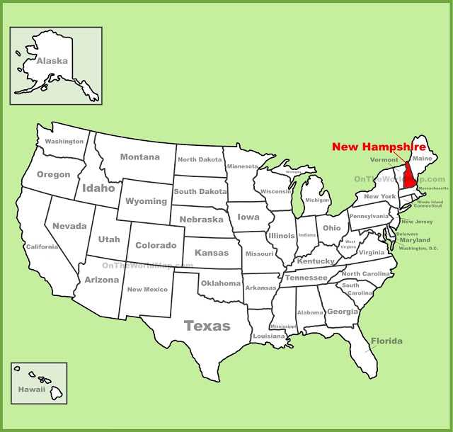 Map of New Hampshire State Map of USA United States Maps