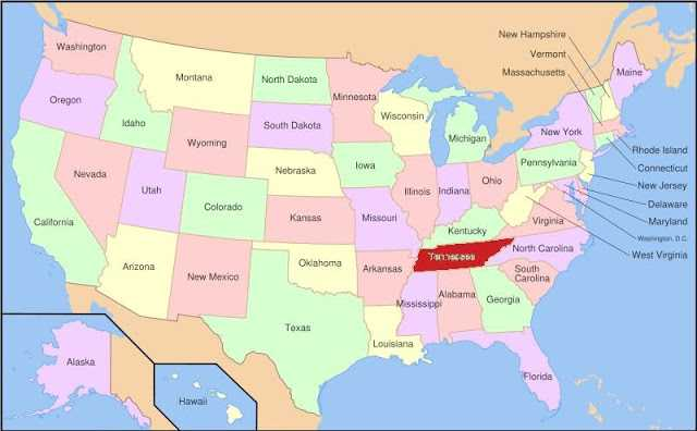Map of Tennessee State Map of USA United States Maps