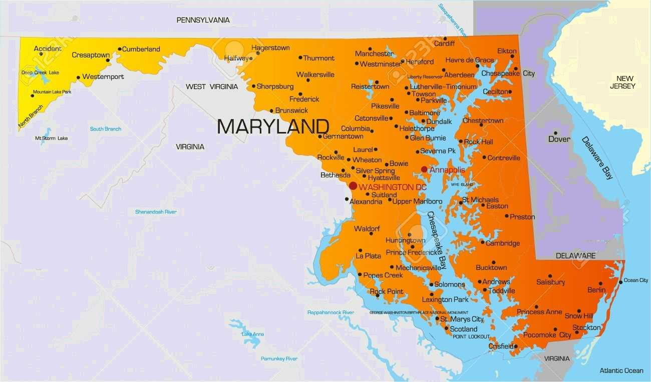 Map Of Virginia And Maryland Cities.Map Of Maryland State Map Of Usa United States Maps