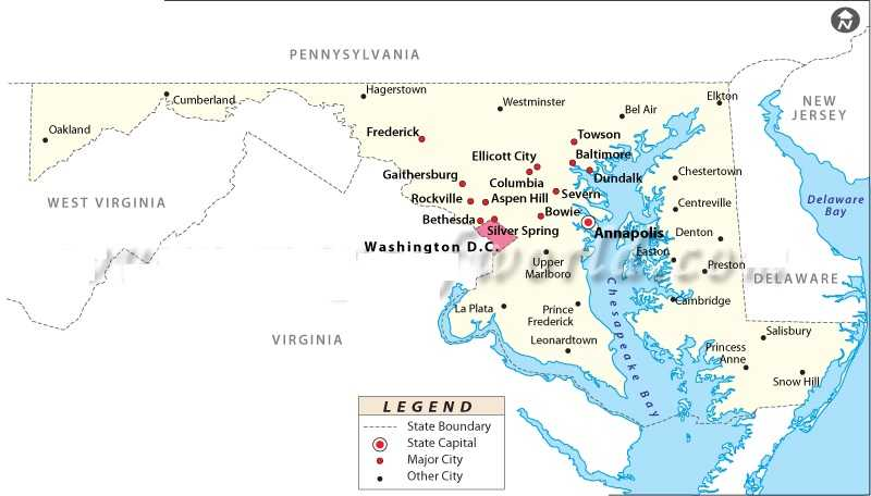 Map of MaryLand | State Map of USA | United States Maps